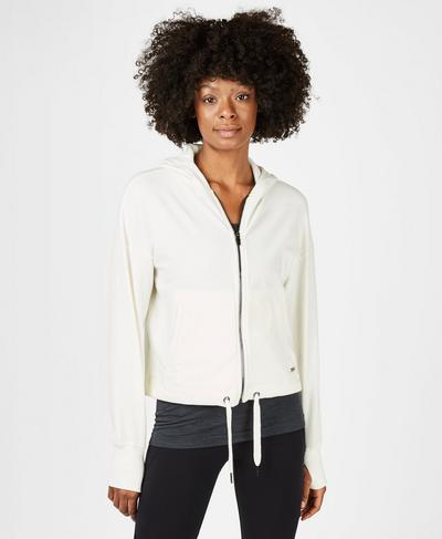 Sanctuary Luxe Zip Through Hoody, Lily White | Sweaty Betty