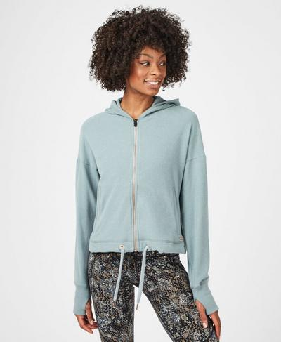 Sanctuary Luxe Zip Through Hoody, Storm Blue | Sweaty Betty