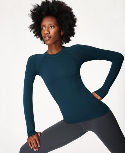 Athlete Seamless Long Sleeve Top, Beetle Blue | Sweaty Betty