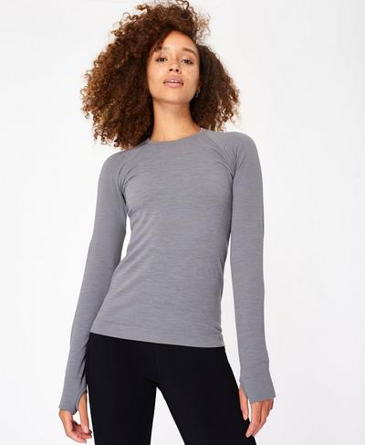 Athlete Seamless Long Sleeve Top, Charcoal Grey | Sweaty Betty