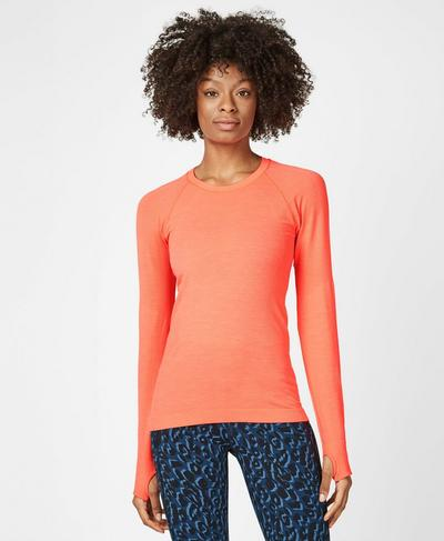 Athlete Seamless Long Sleeve Top, Fluro Flash Pink | Sweaty Betty