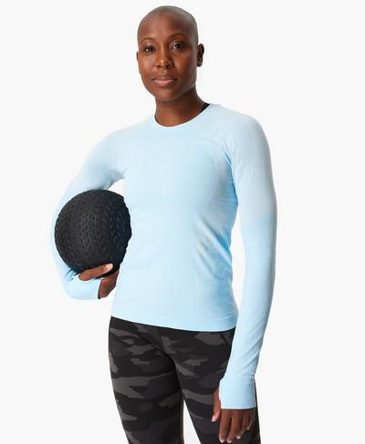 Athlete Seamless Long Sleeve Top, Ice Blue | Sweaty Betty