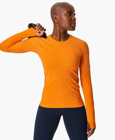 Athlete Seamless Long Sleeve Top, Murcott Orange | Sweaty Betty