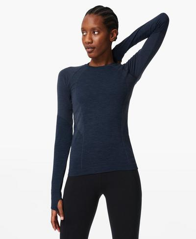 Athlete Seamless Long Sleeve Top, Navy Blue | Sweaty Betty