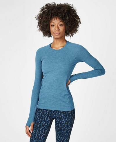Athlete Seamless Long Sleeve Top, Stellar Blue | Sweaty Betty