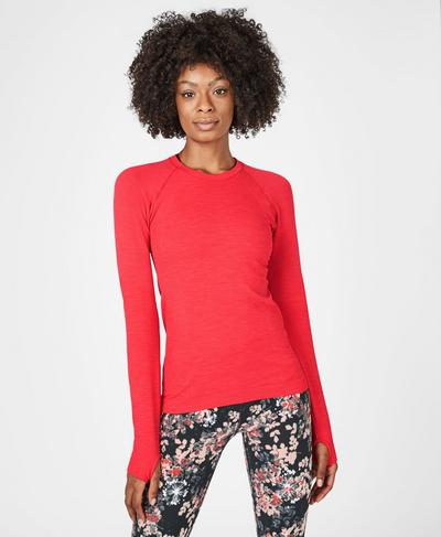Athlete Seamless Long Sleeve Top, Tulip Red | Sweaty Betty