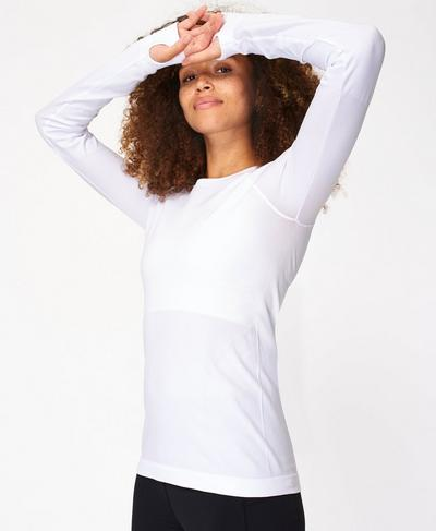 Athlete Seamless Long Sleeve Top, White | Sweaty Betty