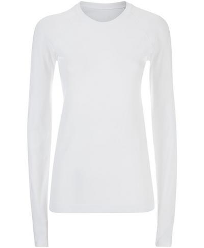Athlete Seamless Long Sleeve Top, White   Sweaty Betty