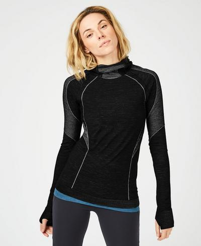 Elite Seamless Merino Run Hoody, Black | Sweaty Betty