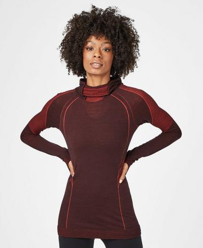 Elite Seamless Merino Run Hoodie, Black Cherry Purple | Sweaty Betty