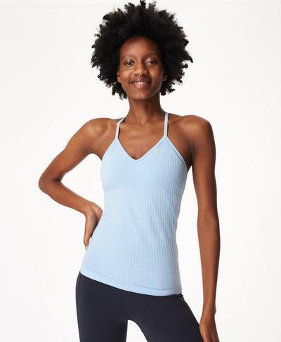 Mindful Seamless Bamboo Yoga Vest, Air Blue | Sweaty Betty