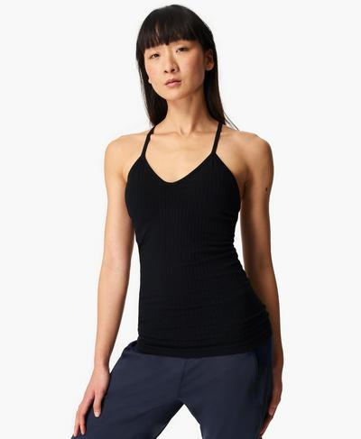 Mindful Seamless Bamboo Yoga Vest, Black | Sweaty Betty