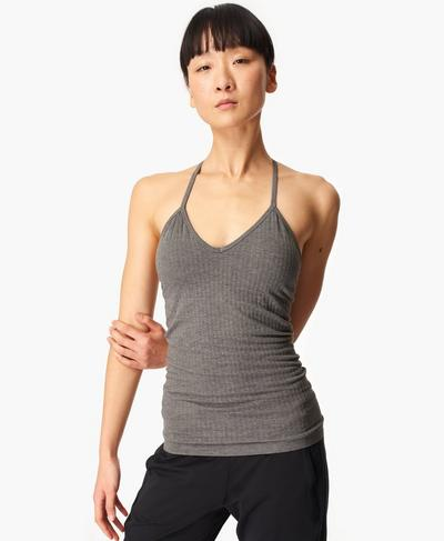 Mindful Seamless Bamboo Yoga Vest, Charcoal Grey | Sweaty Betty