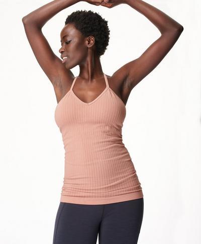Mindful Seamless Bamboo Yoga Vest, Misty Rose Pink | Sweaty Betty