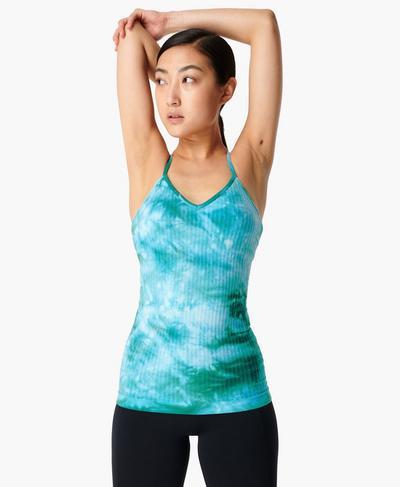 Mindful Seamless Yoga Vest, Green Tie Dye | Sweaty Betty