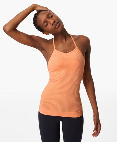 Mindful Seamless Yoga Vest, Peach Orange | Sweaty Betty