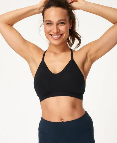 Mindful Seamless Bamboo Yoga Bra, Black | Sweaty Betty