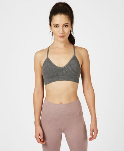 Mindful Seamless Bamboo Yoga Bra, Charcoal Grey | Sweaty Betty