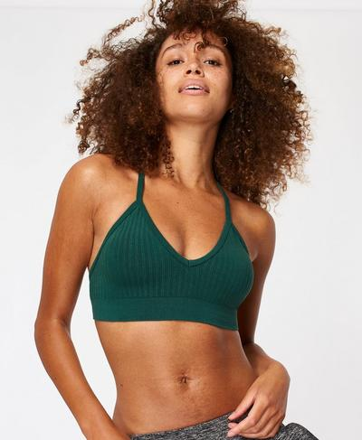 Mindful Seamless Bamboo Yoga Bra, June Bug Green | Sweaty Betty