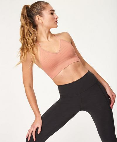 Mindful Seamless Bamboo Yoga Bra, Misty Rose Pink | Sweaty Betty