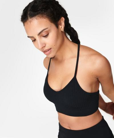 Mindful Seamless Yoga Bra, Black | Sweaty Betty