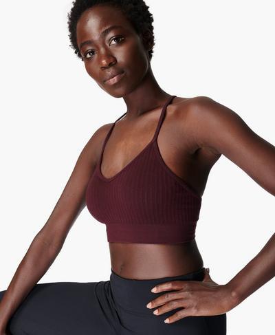 Mindful Seamless Yoga Bra, Black Cherry Purple | Sweaty Betty