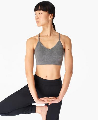 Mindful Seamless Yoga Bra, Charcoal Grey Marl | Sweaty Betty