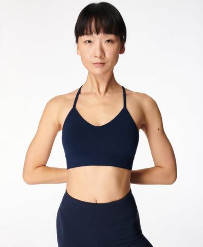 Mindful Seamless Yoga Bra, Navy Blue | Sweaty Betty
