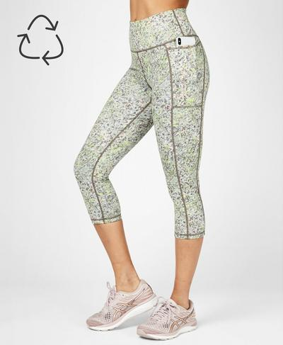 Super Sculpt Yoga Cropped Leggings, Green Alert Pebble Print | Sweaty Betty