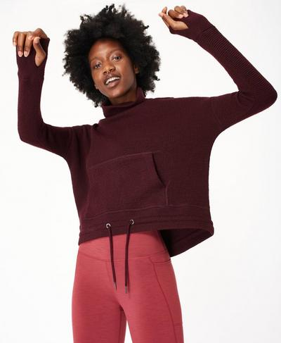 Restful Boucle Jumper, Black Cherry Purple | Sweaty Betty