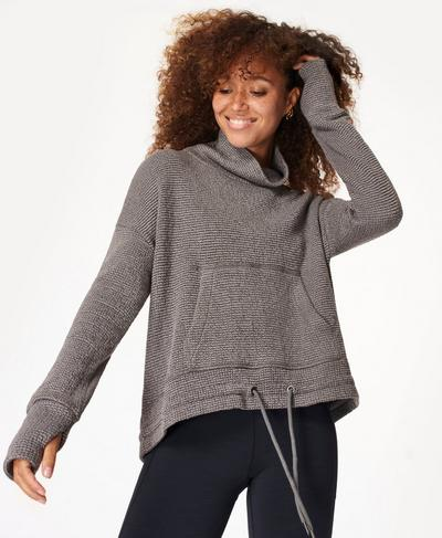 Restful Boucle Sweatshirt, Charcoal Marl | Sweaty Betty