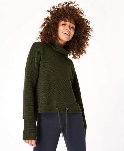 Restful Boucle Jumper, Olive Green | Sweaty Betty