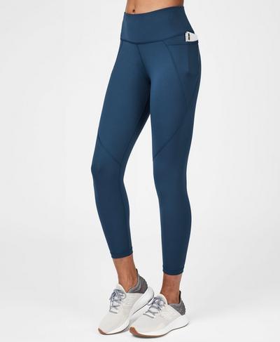 Power 7/8 Workout Leggings, Beetle Blue   Sweaty Betty
