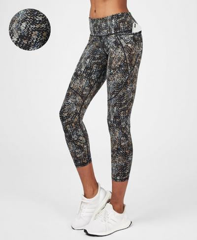 Power 7/8 Workout Leggings, Storm Blue Wood Block Print | Sweaty Betty