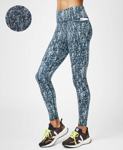 Power Workout Leggings, Beetle Blue Herringbone Print | Sweaty Betty