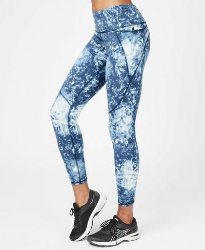 Power Workout Leggings, Beetle Blue Tie Dye Print | Sweaty Betty