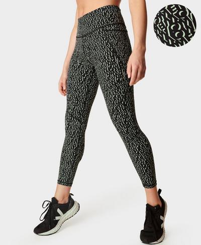 Power 7/8 Workout Leggings, Black Monogram Print | Sweaty Betty