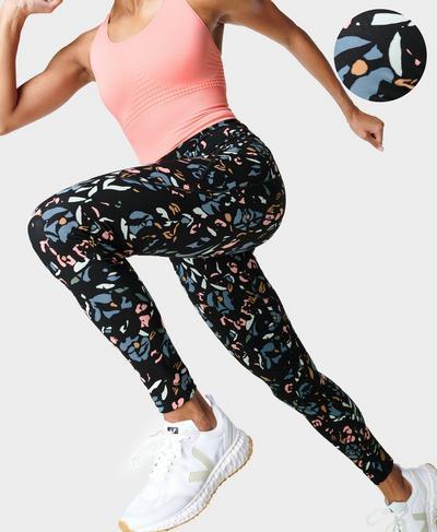 Power Gym Leggings, Blue Floral Pop Print | Sweaty Betty