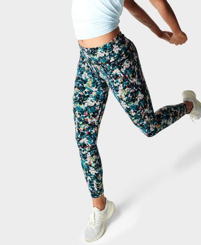 Power Fitnessleggings, Blue Floral Splash Print | Sweaty Betty