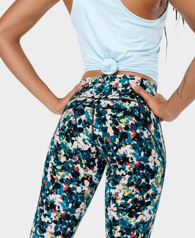 Power Workout Leggings , Blue Floral Splash Print | Sweaty Betty