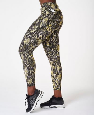 Power 7/8 Gym Leggings, Citrus Green Snake Print | Sweaty Betty