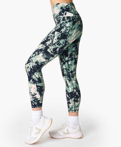 Power 7/8 Gym Leggings, Green Abstract Tie Dye Print | Sweaty Betty