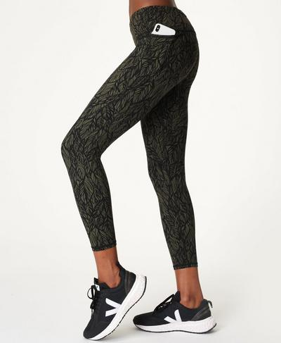 Power 7/8 Gym Leggings, Green Leaf Print | Sweaty Betty