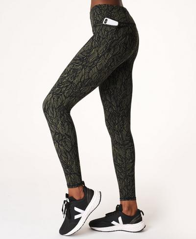 Power Gym Leggings, Green Leaf Print | Sweaty Betty