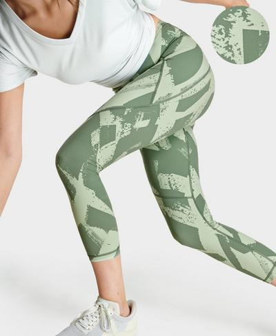 Power 7/8-Fitness Leggings, Green Paint Print | Sweaty Betty