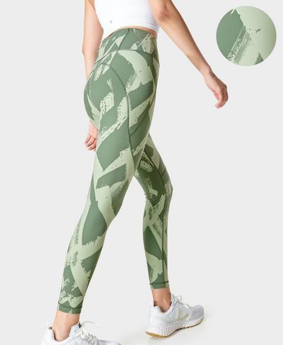 Power Fitness Leggings, Green Paint Print | Sweaty Betty