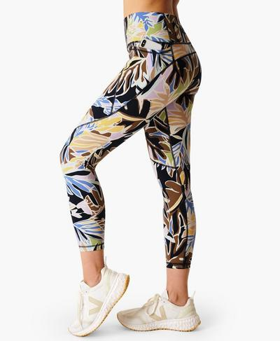 Power 7/8 Workout Leggings, Green Paper Leaf Print | Sweaty Betty