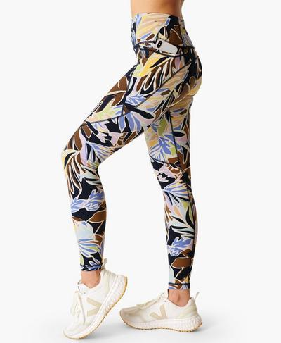 Power Gym Leggings, Green Paper Leaf Print | Sweaty Betty