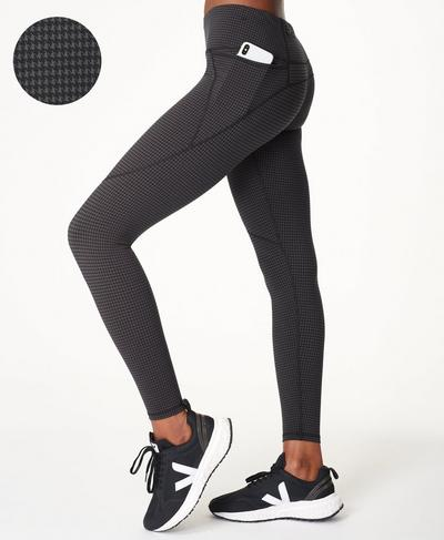 Power Gym Leggings, Grey Houndstooth Print | Sweaty Betty