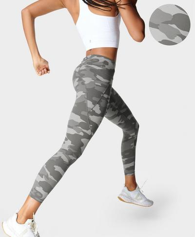 Power 7/8 Workout Leggings, Grey Tonal Camo Print | Sweaty Betty